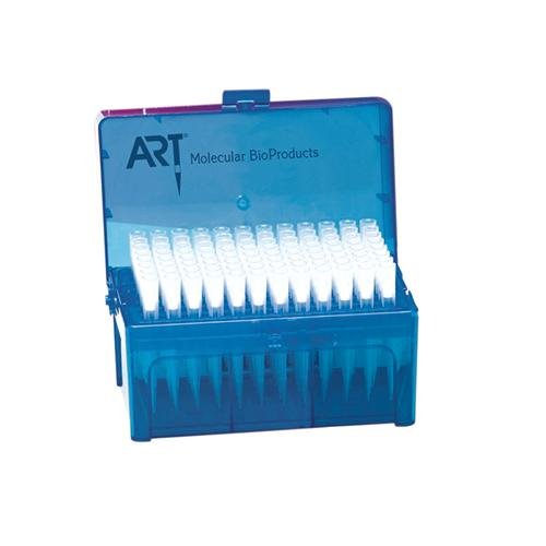 Molecular Bio-Products 2080-HR ART Barrier Pipette Tip with Micro Point Design, Hinged Rack, Sterile, Extended Length, 1250µL, 11.85 cm Length, Natural (Pack of 3072) - Molecular Bioproducts Tips