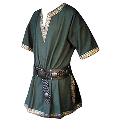 neveraway Men Plus Size V Neck Short Sleeve Top Costume Medieval Simple T-Shirts Green -