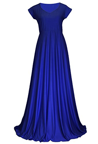 MayriDress Bridesmaid Dress Women Evening Gown Prom Long Cap Sleeve Vintage Wedding Party (2X-Long 58 inch, Royal Blue)