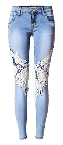 Low Rise Embroidered Stretch Jeans - Allonly Women's Fashion Skinny Fit Stretch Low Rise Hollow Out Embroidered Jeans Pencil Pants With Lace