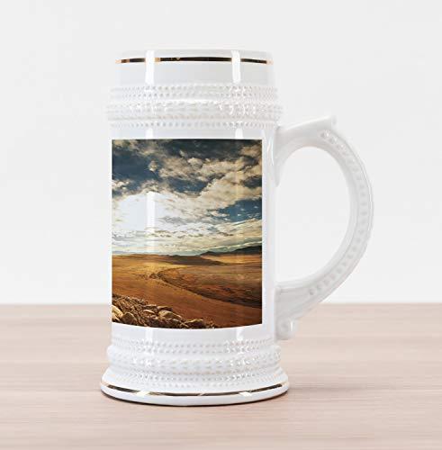 (Lunarable Landscape Beer Stein Mug, Prairie Hot Usa Mississippi River Valley with Idyllic Summer Season View Image, Traditional Style Decorative Printed Ceramic Large Beer Mug Stein, Orange Blue)