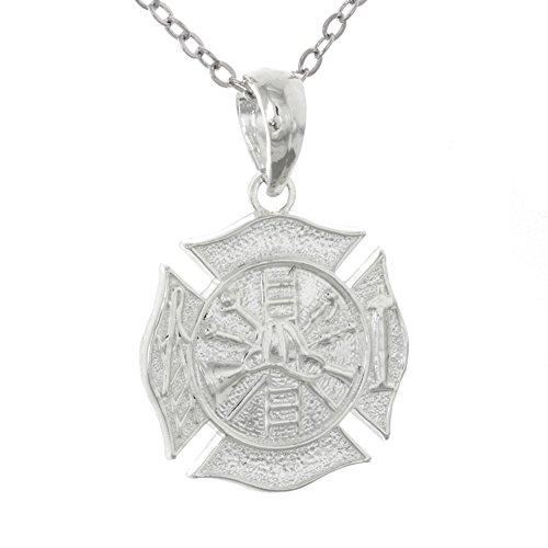 Profession Pendant with Chain, 3D Fireman Shield Maltese Cross ()