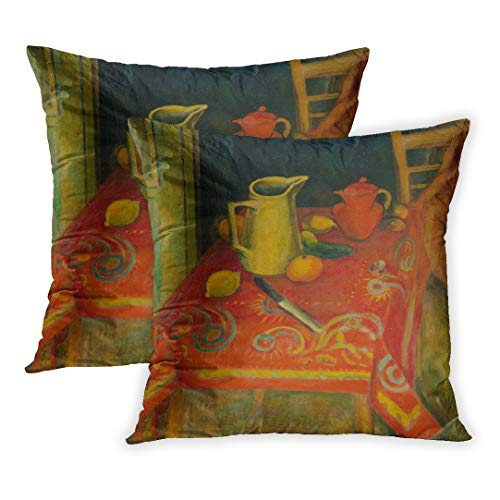 - Emvency Throw Pillow Cover Pack of 2, The Red by Samuel Halpert 1915 American Painting Oil on Canvas Artist Studied and Lived in Paris Home Decor Square Size 20 x 20 Inches Cushion Pillowcase