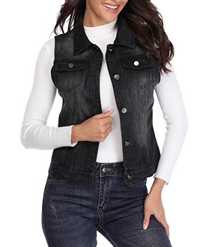 MISS MOLY Women's Sleeveless Frayed White Looking Lapel Denim Vest Button Up Dowm Denim Jacket Vests Coat w 2 Chest Pockets (Black Vest,M)]()