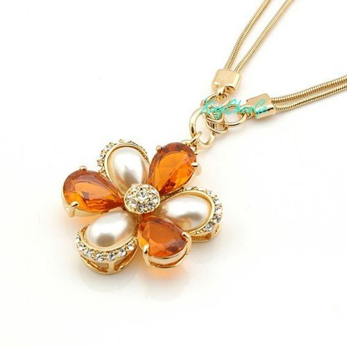 TKHNE Wei Ni Hua genuine champagne pearl crystal flower necklace pendant gift ()