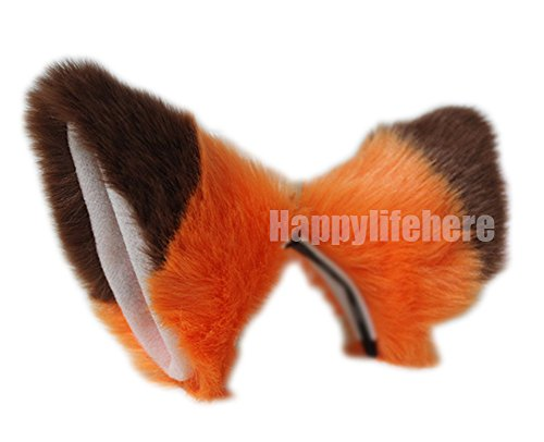 Cat Fox Ears Kitty Costume Halloween Cosplay Fancy Dress Many colors Kits (Orange with Brown Tips (Skin