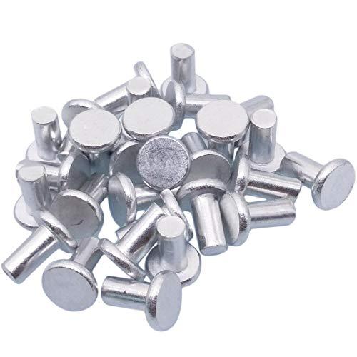 - 100pcs 5mm Dia 10mm Shank Flat Countersunk Head Aluminum Solid Rivets