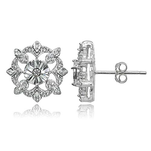 Sterling Silver Polished Snowflake Diamond Accent Stud Earrings, JK-I3