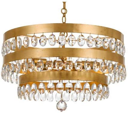 Chandeliers 5 Light Fixtures with Antique Gold Finish Wrought Iron Material Medium 22 300 Watts