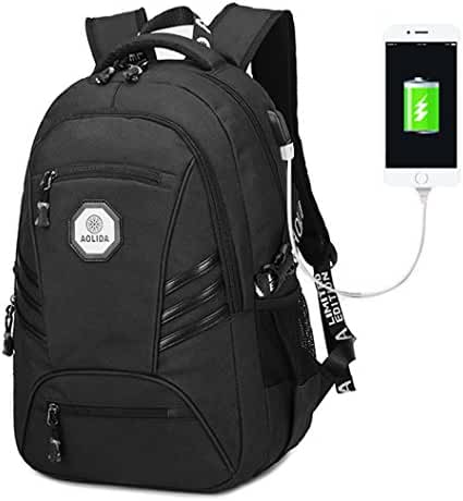 Waterproof Business Laptop Backpack, Casual Hiking Travel Daypack, College Computer Backpacks with USB Charging Port for Men, Fits 15.6 inch Laptop & Tablet(Black)
