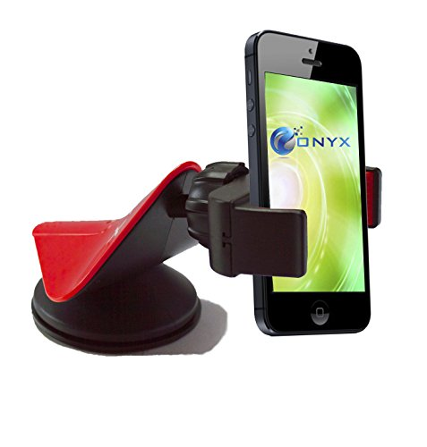 Onyx Cell Phone Car Mount Compatible with Apple iPhone 6S, Samsung Galaxy S6 and Below, Nokia Lumia, HTC, or any Device upto 3.5-Inch - Red & Black - Onyx Telephone