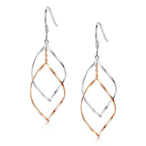 Rose Gold amp Sterling Silver Double Linear Loops Twist Wave Drop Hoop Earrings for Women Girls