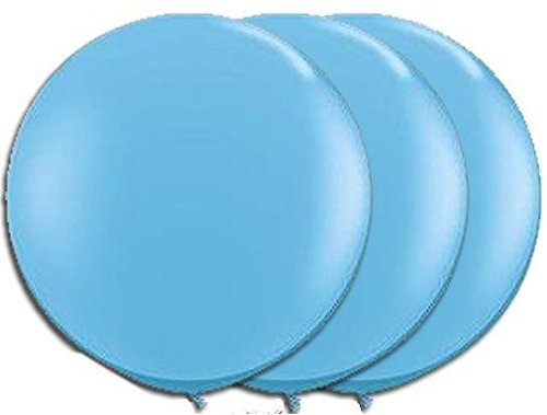 36 Inch Giant Round Cool Blue / Light Blue Latex Balloons by TUFTEX (Premium Helium Quality) Pkg/3