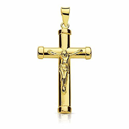 Croix pendentif crucifix Christ lisse or 28mm 18k. bâton ovale [AA1925]