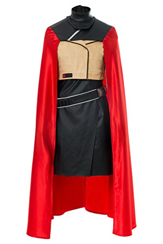 Yancos Women Halloween Movie Costume Qi'Ra Cosplay Jacket Outfit Suit with Red Cape -