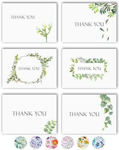 Thank You Cards - 36 Watercolor Floral Thank You Notes Box Set with 40 White Envelopes and Bonus Stikers - Blank Inside - Perfect for Wedding, Baby and Bridal Shower, Business - 4 x 6 Size - Bulk Pack