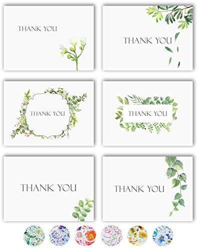 Thank You Cards - 36 Watercolor Floral Thank You Notes Box Set with 40 White Envelopes and Bonus Stikers - Blank Inside - Perfect for Wedding, Baby and Bridal Shower, Business - 4 x 6 Size - Bulk Pack]()