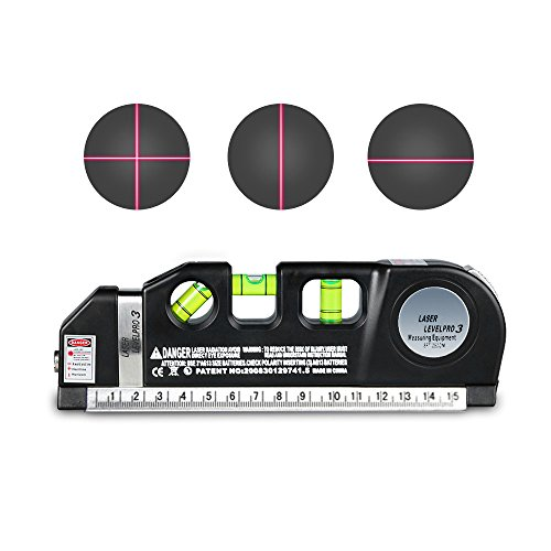 Multifunction Laser Level - Laser Tape Rulers, CarBoss Multipurpose Laser Level laser, measure Line 8 FT/2.5M Measure Tape Ruler Adjusted Standard and Metric Rulers Tools, Best Professional Craftsman Self Leveling Laser leveler