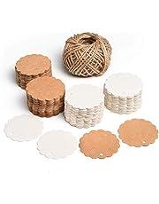 SuMile Etiquetas de regalo de Papel Kraft,Colgante de regalo redondo 200 piezas y Yute Twine 20M,Etiquetas de papel Kraft para equipaje y Etiquetas de bricolaje