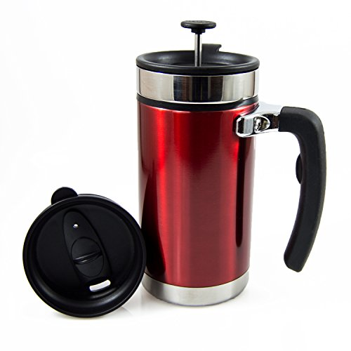 Desk Press Coffee Travel Mug - French Press with Brü-Stop Technology - 2 Spill Proof Lids - 20oz - Candy Apple Red