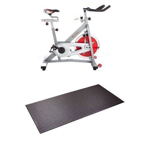 Sunny Health & Fitness Pro Indoor Cycling Bike and Supermats P.V.C. Mat...