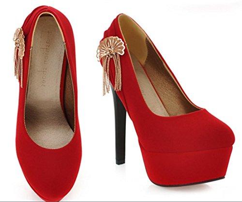 YCMDM scarpe col tacco alto Belle metallo con frange in camoscio scarpe casual donne Nuova Primavera Autunno Moda Rosso Nero 35 36 37 38 39 40 41 42 43 , red , 100W