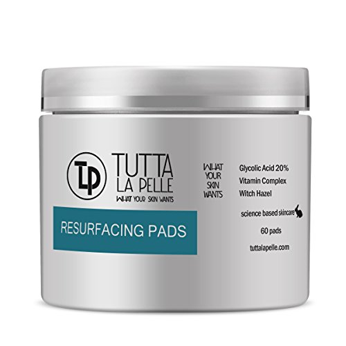 RESURFACING 20% Glycolic Acid EXFOLIATION AHA Pads - Reduces ACNE Breakouts, Fine Lines, Wrinkles - 60 Pads (Pads Glycolic)