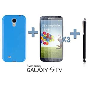 OnlineBestDigital - Colorful Soft Gel Case for Samsung Galaxy S4 IV I9500 / I9505 - Blue with 3 Screen Protectors and Stylus