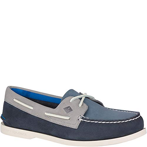 (Sperry Top-Sider Authentic Original Plush Washable Boat Shoe Men 13 Navy/Grey)