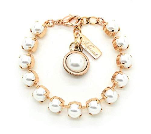 CRYSTAL WHITE PEARL 8mm Bracelet Made With Swarovski Elements *Pick Your Finish *Karnas Design Studio