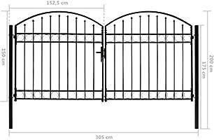 vidaXL Cancela Valla Doble Puerta con Arco Puerta Jardín Accesorios para Entrada Funcional Moderna Estable Duradera Práctica 300x150cm Acero Negro: Amazon.es: Bricolaje y herramientas
