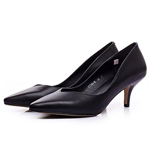 Amoonyfashion Womens Matériel Mixte Solide Pull-on Pointu Fermé Orteils Chaton Talons Pompes Chaussures Noir