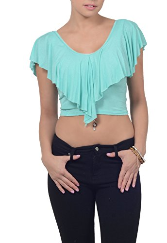 Womens Casual Jersey Stretch Knit V Neck Draped Cap Sleeve Midriff Crop Top