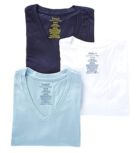 (Polo Ralph Lauren Classic Fit Cotton T-Shirts 3-Pack, XL, White/Blue/Navy)