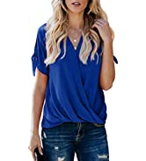 HOTAPEI Womens Casual Short Sleeve Tops Summer Wrap V Neck Chiffon Blouses Loose Fit Shirts