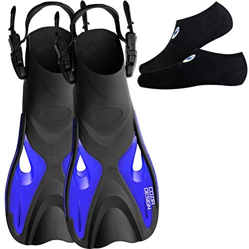 Swim Fins with Water Socks - Snorkel Fins Swimming Optimized for Ease of use with Neoprene Socks for Extra Comfort (Large)