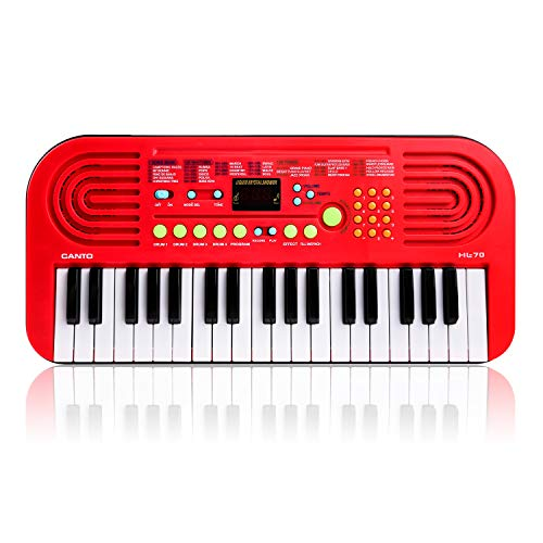 M SANMERSEN Kids Piano Keyboard, 37 Keys Multifunction Portable Keyboard Piano Early Learning Educational Music Instrument Toy for Boys Girls