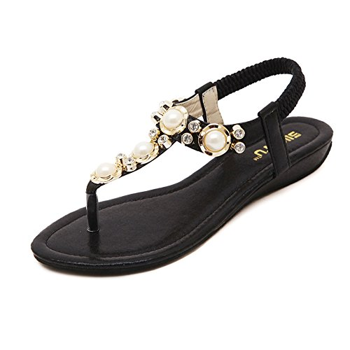 f905046e6 DolphinGirl Bohemian Summer Vacation Flat T-Strap Thong Sandals