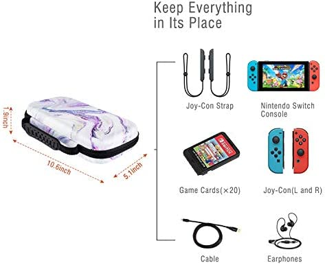 Lokigo Carry Case for Nintendo Switch, Shockproof Hard Shell Protective Cover Travel Bag with 20 Game Card Slots for Nintendo Switch Console Joy-Con & Accessories (Purple Marble)