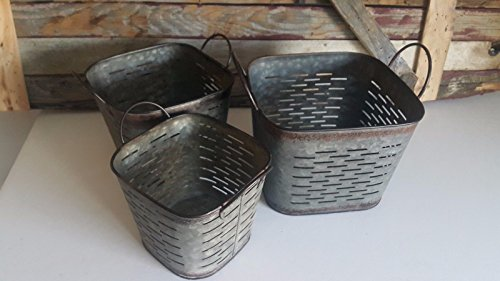 Vintage Metal Square Olive Bucket Set of Three (Farmhouse Ranch Home Decor) Flower Pot (Rustic Glam Home Decor)