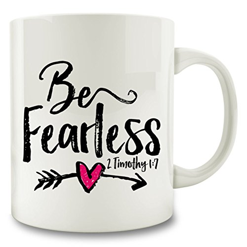 Be Fearless 2 Timothy 1:7 Bible Verse Mug, 11 oz Coffee Tea Mug, plus sticker