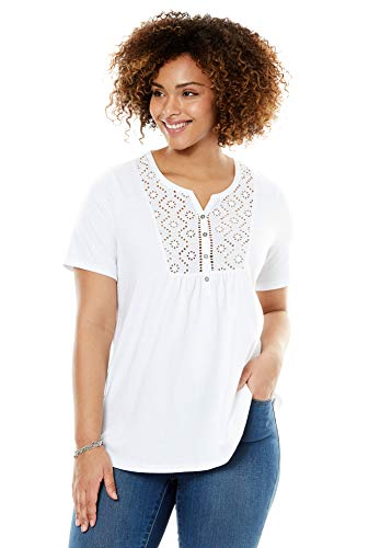 Woman Within Women's Plus Size Eyelet Bib Henley Tee - White, 1X