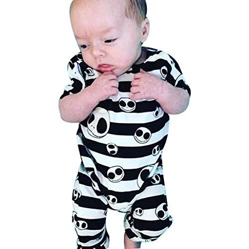 Newborn Baby Boy Girls Romper Bodysuit Halloween Striped Skull Costume Jumpsuit Outfits (Multicolor, 6M) -