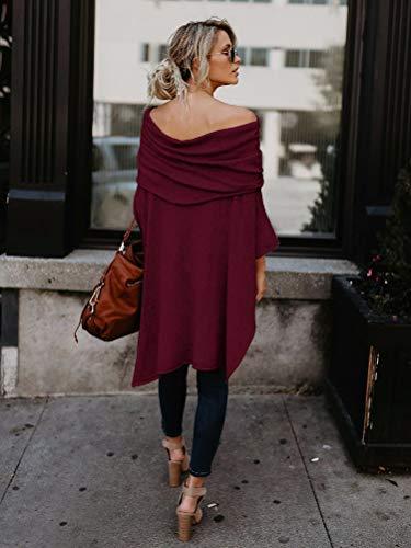 Shirt Hiver Mode Off paule Automne Minetom Femme Tops Longues T Lache Grande Blouse Rouge Vin Casual Taille Manches Hauts AIx0qwa4