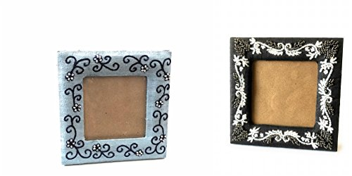 Belle Trendz Blue Beaded Picture Frame and Black Beaded Picture - 7 Die Days Sunglasses To