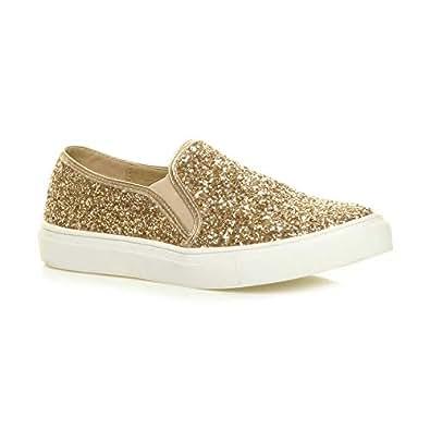 Ajvani Women's Casual Slip On Glitter Plimsolls Pumps Trainers Shoes Size 5 36