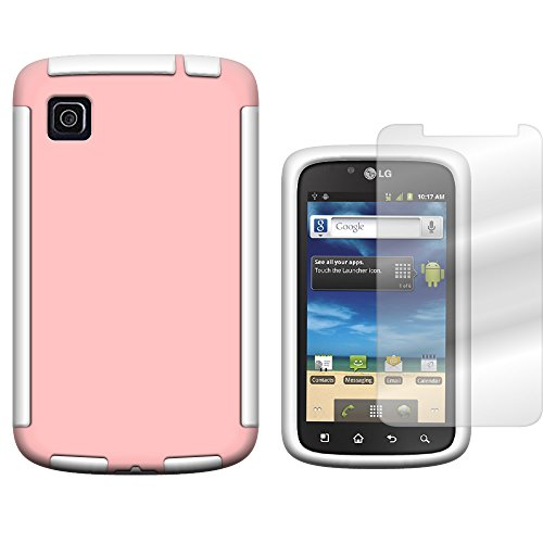 CoverON Hybrid TPU & Hard Plastic Dual Layer Case for LG Optimus Dynamic II - Screen Protector Included Inside Package - Light Pink Hard Plastic + White TPU