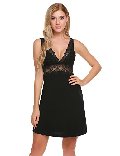 Goldenfox Sleeveless Nightgown Women's Comfort Chemise Short Under Dress (Black, Large) (Slip Push Up)