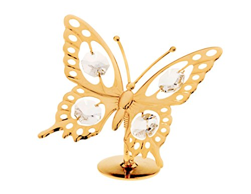 (Butterfly 24k Gold Plated Figurine with Swarovski Crystals)