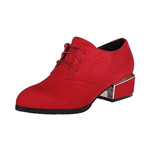 Lace Chunky Latasa Fashion Shoes up Heel Pointed Mid Red Synthetic Nubuck Womens toe Oxford BBYqU